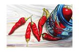 Ball Jar Red Peppers Lámina por Jennifer Redstreake Geary