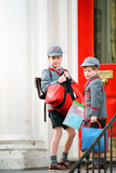 Prince's William and Harry Return to School after Easter, 1990 Fotografisk tryk af Kent Gavin