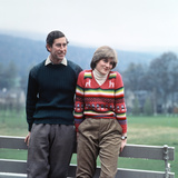 Prince Charles and Lady Diana Spencer Vacationing at Balmoral in May 1981 During their Engagement Fotografisk tryk af  Staff