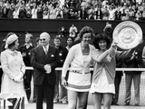 Virginia Wade with the trophy posing with Betty Stove, 1977 Photographic Print by  Staff