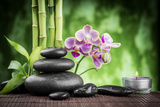 Spa Concept Zen Basalt Stones ,Orchid and Candle Photographic Print by  scorpp