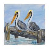 Pelicans on Deck Poster par Julie DeRice