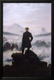 Wandelaar boven zee van mist Posters van Caspar David Friedrich