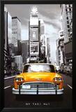 Gele taxi in New York tegen zwart-wit achtergrond, met tekst: NY Taxi no 1 Affiches