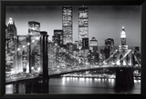 New York Manhattan 's nachts Poster van Richard Berenhotlz