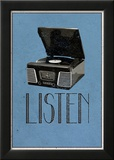 Listen Retro Record Player Art Poster Print Poster
