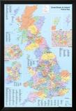 Politische Landkarte des Vereinigten Königreichs (UK) Kunstdrucke