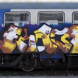 Grafitti on Train Carriage, Pisa, Italy Fotografie-Druck von Mike Burton