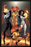 Marvel Divas No.1 Cover: Hellcat, Black Cat, Captain Marvel and Firestar Print by J. Scott Campbell