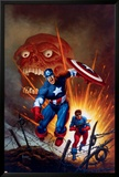 Captain America No.8 Cover: Captain America, Bucky and Red Skull Swimming Posters av Joe Jusko