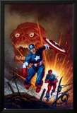 Captain America No.8 Cover: Captain America, Bucky and Red Skull Swimming Bilder av Joe Jusko