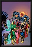 Avengers: Vision And The Scarlet Cover: Vision, Scarlet Witch, Thor, Iron Man and Dormammu Posters by Gil Kane