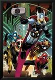 Avengers No.5 Cover: Thor, Captain America, Spider-Man, Iron Man, and Wolverine Flying Posters av John Romita Jr.