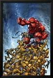 Avenging Spider-Man No.2 Cover: Spider-Man and Red Hulk Fighting Moloids Kunstdruck von Joe Madureira