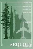 Sequoia National Park - Redwood Relative Sizes Plastikschild von  Lantern Press