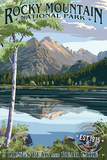 Longs Peak and Bear Lake Summer- Rocky Mountain National Park - Rubber Stamp Cartel de plástico por  Lantern Press
