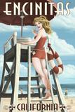 Encinitas, California - Lifeguard Pinup Vægplakat af  Lantern Press