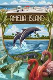 Amelia Island, Florida - Montage Plastic Sign by  Lantern Press