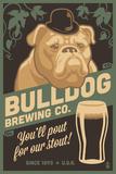 Bulldog - Retro Stout Beer Ad Plastikskilt af  Lantern Press