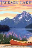 Grand Teton National Park - Jackson Lake Cartel de plástico por  Lantern Press