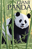 Giant Panda - Lithograph Series Cartel de plástico por  Lantern Press