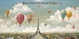 Ballonvaart boven Parijs met Engelse tekst: Ballooning Over Paris Gicléedruk van Isiah and Benjamin Lane