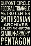 Washington DC Metro Stations Vintage RetroMetro Travel Poster Print