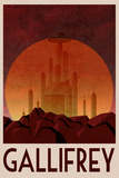 Gallifrey Retro Travel Poster Planscher