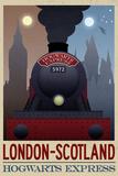 London- Scotland Hogwarts Express Retro Travel Poster Plakater