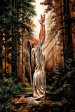 Indian Maiden Pray in Woods Art Print Poster Póster