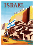 Israel - Zionist Heroic Girl Holding Israeli Flag - Walls of Jerusalem Kunst von  RENLUC