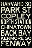 Boston MBTA Stations Vintage Subway RetroMetro Travel Poster Kunstdrucke