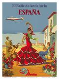 España (Spain)- Iberia Air Lines of Spain - Flamenco Dancers Poster von Inc., Pacifica Island Art