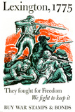 Lexington They Fought for Freedom We Fight to Keep It Stamps Bonds WWII War Propaganda Poster Poster