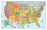 Rand Mcnally Laminated Signature United States Map ポスター