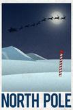 North Pole Retro Travel Poster Posters