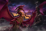 Dragon vert crachant du feu Affiches par Tom Wood