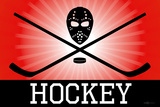 Hockey Red Sports Poster Print Posters