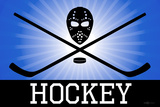Hockey Blue Sports Poster Print Poster