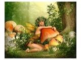 Fairy Leaning on a Mushroom Pósters