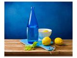 Lemons and Bottle Still Life Pósters