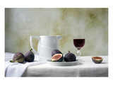 Figs and Red Wine Still Life Poster