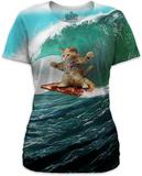 Women's: Surfs Up Pizza Cat T-shirts imprimés femme