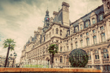 Hotel De Ville in Paris, France. City Hall Building, a Popular Landmark. Vintage, Retro Reproduction photographique par Michal Bednarek