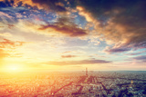 Paris, France Skyline, Panorama at Sunset. View on Eiffel Tower, Champ De Mars Reproduction photographique par Michal Bednarek