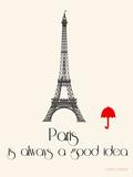 Paris Travel Poster With Eiffel Tower Kunstdrucke von Jan Weiss