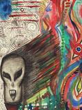 Ferocious Skull Like Head Screams Reproduction photographique par Charles Bowman