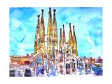 Sagrada Famila in Barcelona with Blue Sky Affiches par Markus Bleichner
