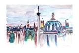 London Skyline with Big Ben and Nelson Column Art by Markus Bleichner