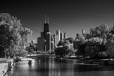Lincoln Park Lagoon Chicago BW Fotografie-Druck von Steve Gadomski